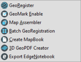 The Composer Toolbar menu, with the following 7 menu items--GeoRegister, GeoMark Enable, Map Assembler, Batch GeoRegistration, Create MapBook, 3D GeoPDF Creator, and Export EdgeNotebook