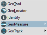 The GeoPDF toolbar, with five menu items--GeoTool, GeoLocator, Identify, GeoMeasure, and GeoTrack